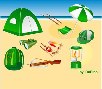 Camping, Hunting And Fishing Vector Pack
