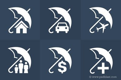 Insurance Icons Set (PSD)