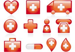 Red medical icons