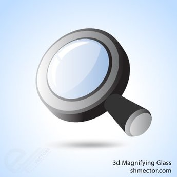 Vector 3d magnifying glass