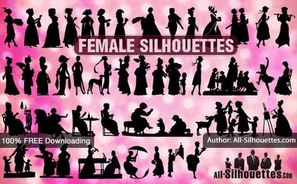 41 Female vector silhouettes