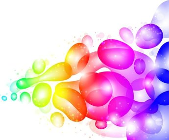 Color Abstract with Transparent Bubbles and Drops