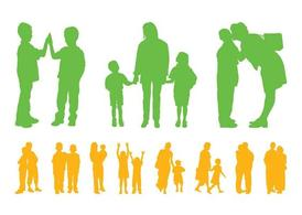 Children And Parents Silhouettes