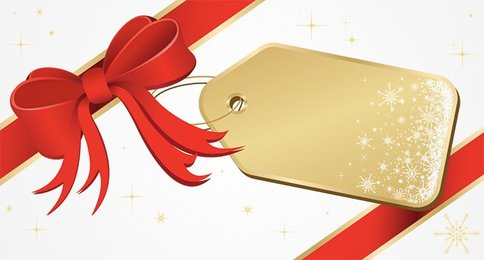 Christmas Price Tag Label with Ribbon