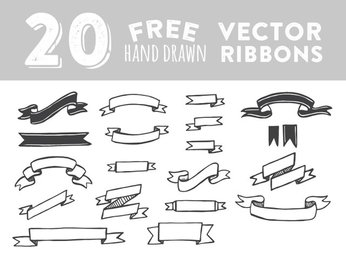 20 Hand Drawn Vector Ribbons