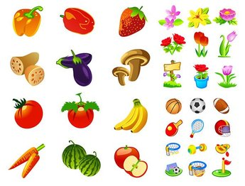 Flowers, vegetables and fruits sports icon