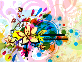 Free Colorful Floral Vector Background with Circles