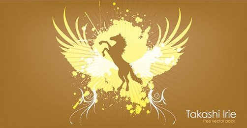 Horse in wings background