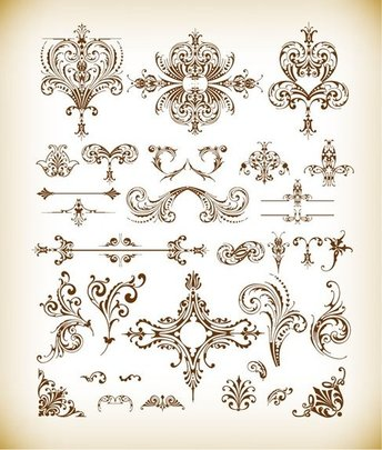 Vector Set of Vintage Floral Elements