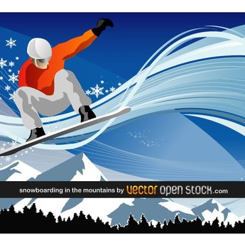 SNOWBOARDING MOUNTAINS VECTOR.ai