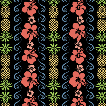 Free Hibiscus Flowers Seamless Pattern Vector with Pineapple