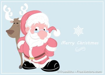 Cartoon Santa with Reindeer