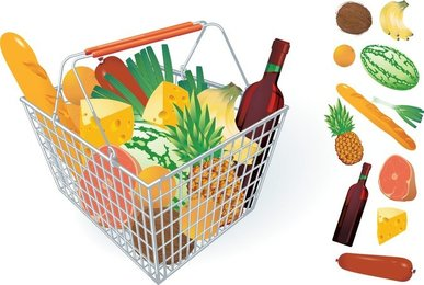 Fruits And Vegetables And Shopping Basket 04