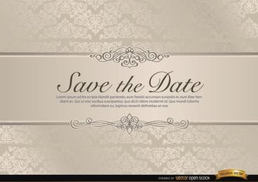 Wedding invitation with floral riband
