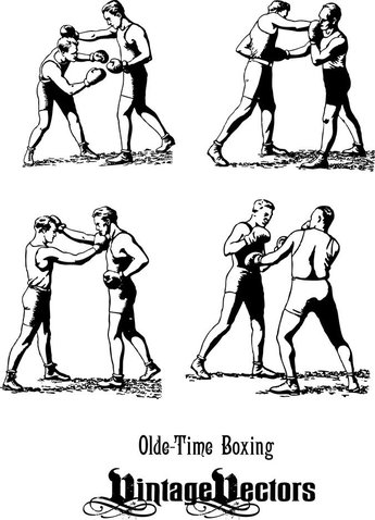 Olde-Time Boxers In Classic Boxing Stances, Punching