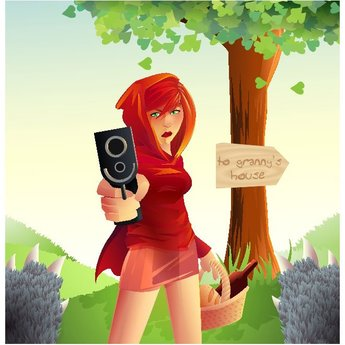 REDHEAD WITH A PISTOL VECTOR.ai