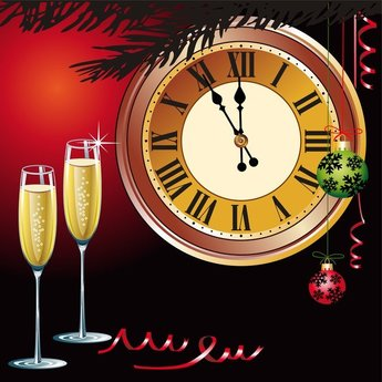 Champagne And Other Elements Of Vector Butterfly Clock