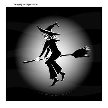 WITCH FLYING ON BROOM VECTOR.ai