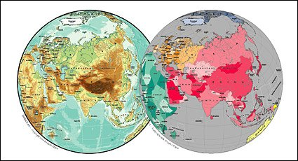 Vector map of the world exquisite material - Asia spherical