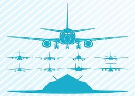 Flying Airplanes Silhouettes