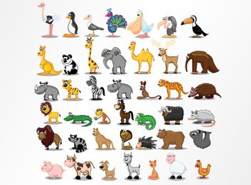 Cartoon Animal Vector Illustrations (Free)