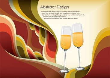 Champagne glasses Vector background material the tide