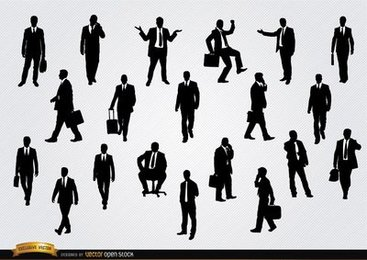 Businessmen in different situations silhouettes