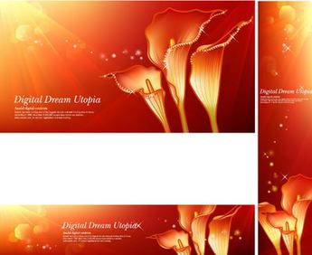 Red Zantedeschia Bright Background with Shades