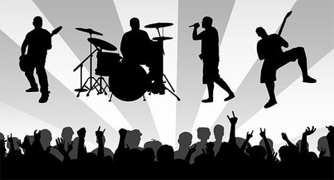 Band material with the enthusiasm of the audience silhouette