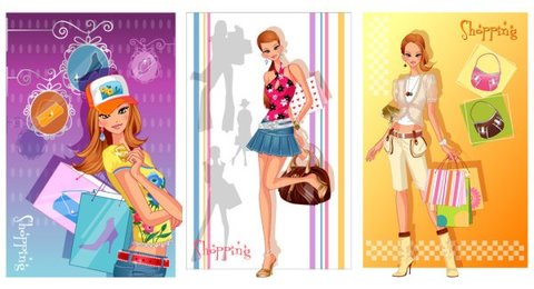 Fashion Shopping Beauty Vector material Series 2