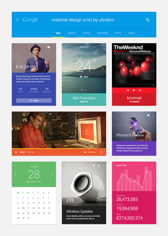 Material Design UI Kit PSD Free Download