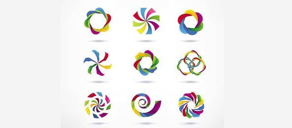 9 Colorful Twirl Interwoven Vector Logos