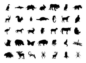 Free Vector Set: 35 Animal and Bug Silhouettes