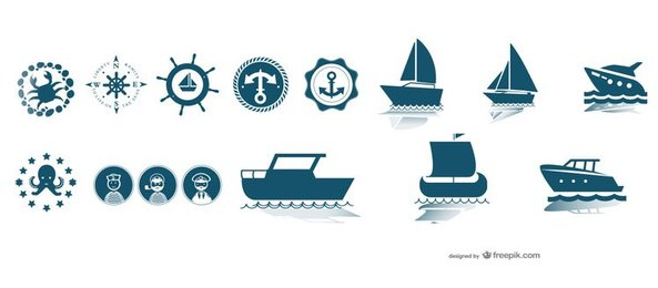 Nautical Boats and Seafaring Vector Elements