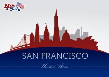 San Francisco city silhouettes on July 4th