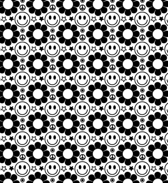 A Happy Hippie Retro Style Seamless Vector Pattern