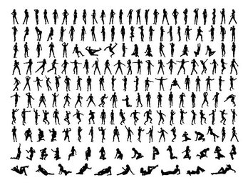 Vector silhouettes of various characters pose a variety of m