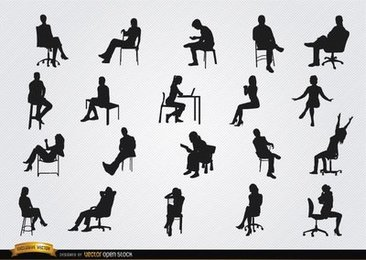 People sitting in chairs silhouettes