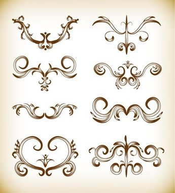 Floral Element Vector Illustration Set