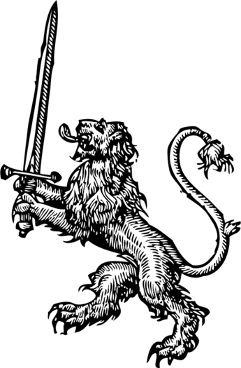 lion with sword