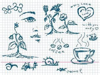 Handpainted Coffee Plants And Other Elements Of