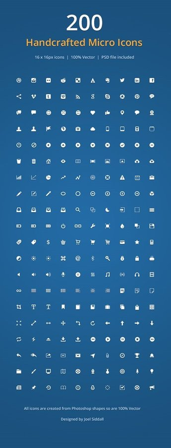 Handcrafted Micro Icons PSD and