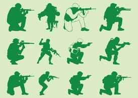 Shooting Soldiers Silhouettes