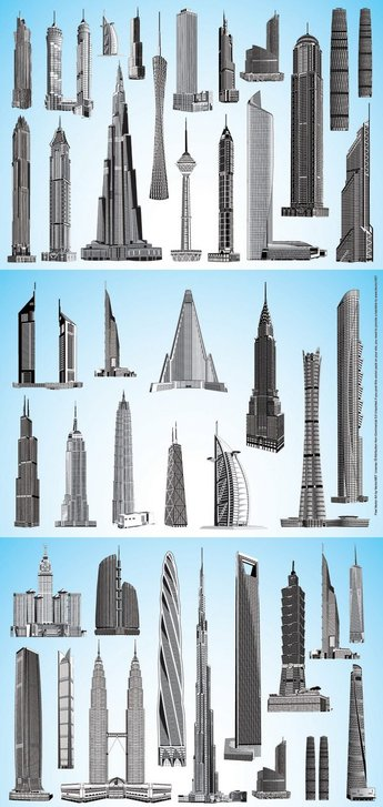 Vector material world famous high-rise buildings