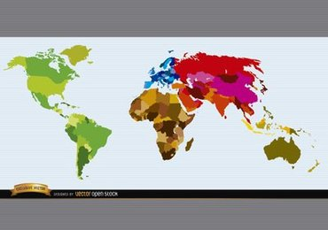 Political world map colored