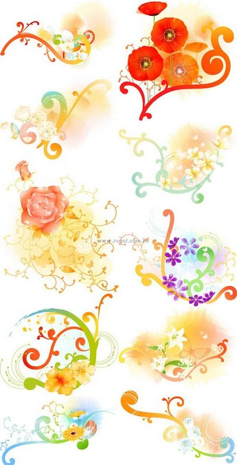 Exquisite floral series vector material - Volume 1 (10P)