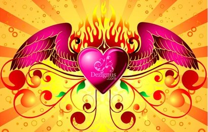 Winged Heart Fire Flames Florar