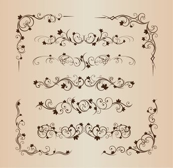 Floral Decorative Ornament Vector Set