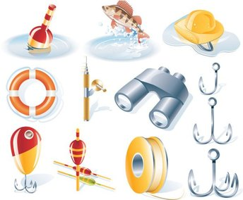 Sailing fishing icons