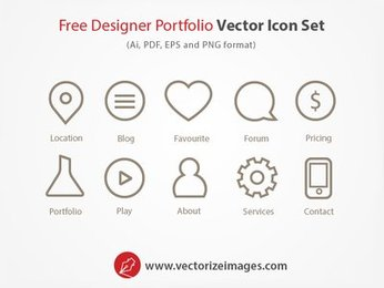 Designer Portfolio Outlined Icon Set